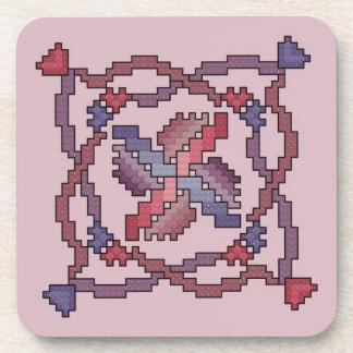 Ribbon Quilt Square Cross Stitch Coasters