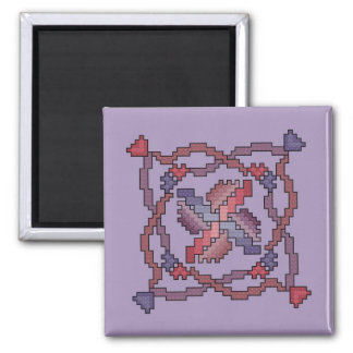 Ribbon Quilt Square Cross Stitch Magnet