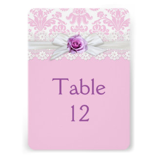 Ribbon Rose Lace Damask Table card