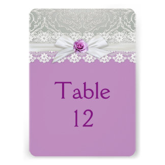 Ribbon Rose Silver Damask Lavender Table card