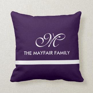 Ribbon Royal Purple Family Monogram Design Throw Pillow