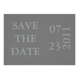 Ribbon Save the Date Announcement-gray