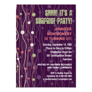 Ribbon Spheres Confetti Party Invitation