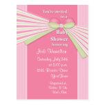 Ribbon & Stripes Baby Shower Invitation Postcard
