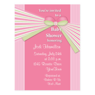 Ribbon & Stripes Baby Shower Invitation Postcard