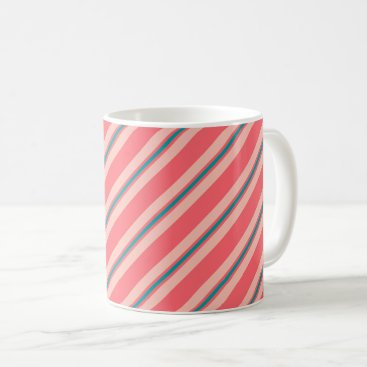 Beach Themed Ribbon stripes, coral pink and turquoise coffee mug