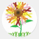 Ribbon Sunflower.png Round Sticker