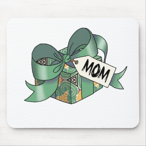 Ribbon wrapped gift for  Mom-004 Mouse Pad