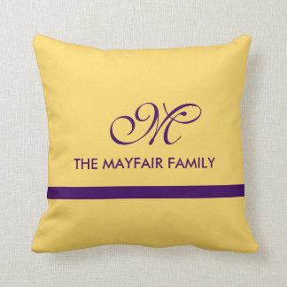 Ribbon Yellow Purple Family Monogram Design Throw Pillow