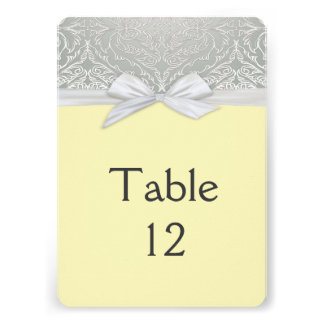 Ribbon Yellow/Silver Lace Damask Table card