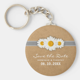 Ribbons and Dasies Faux Rustic Paper Save the Date Basic Round Button Keychain