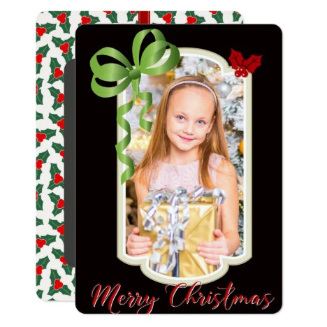 Ribbons & Hollies, Two Sided Photo Christmas Card