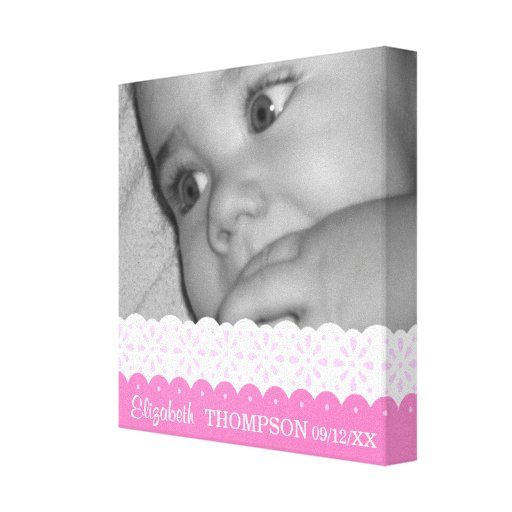Ribbons & Lace Baby Photo Canvas Stretched Canvas Print