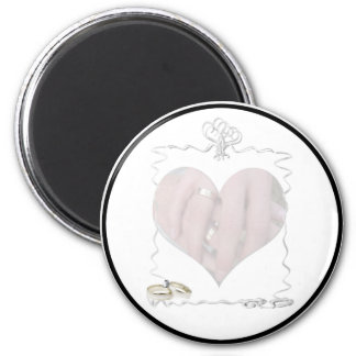 Ribbons & Rings with Wedding Couple 2 Inch Round Magnet