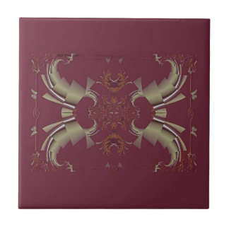 Ribbons to Claws - Burgundy Ceramic Tile