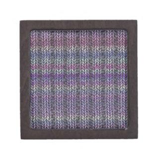Ribknit rayado púrpura caja de joyas de calidad