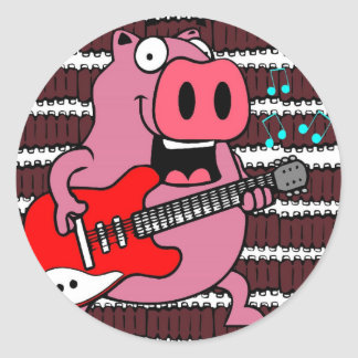ribs rock pig classic round sticker