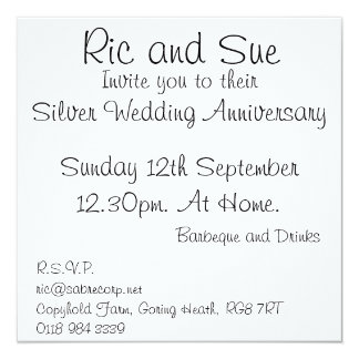Ric and Sue, Sunday 12th September12.30pm. At H... Invitation