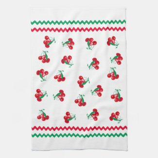 Ric Rac And Cherries Kitchen Towel