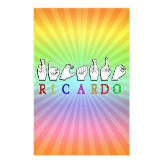 RICARDO ASL FINGERSPELLED NAME SIGN STATIONERY