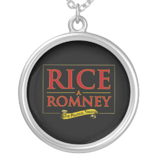 RICE-A-ROMNEY LABEL 2012.png Round Pendant Necklace