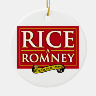 RICE-A-ROMNEY LABEL CHRISTMAS ORNAMENTS