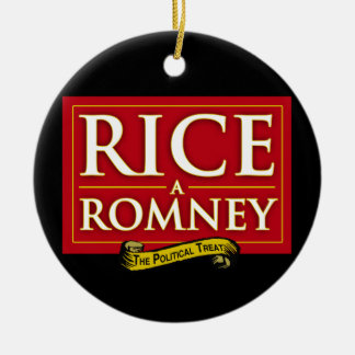 RICE-A-ROMNEY LABEL.png Christmas Tree Ornament