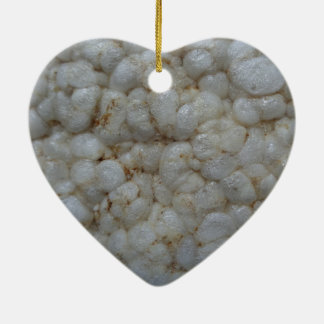 Rice Cake ,  Healthy Food, White Snack Double-Sided Heart Ceramic Christmas Ornament