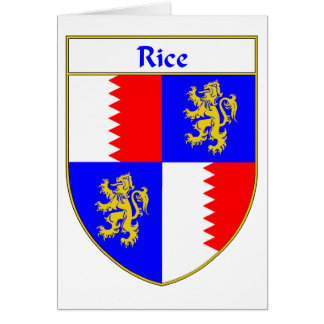 Rice Coat of Arms/Family Crest Card