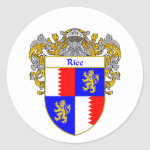 Rice Coat of Arms (Mantled) Classic Round Sticker