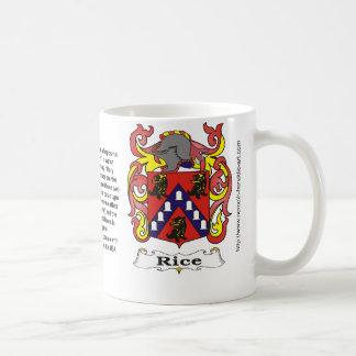 Rice Family Crest on a mug