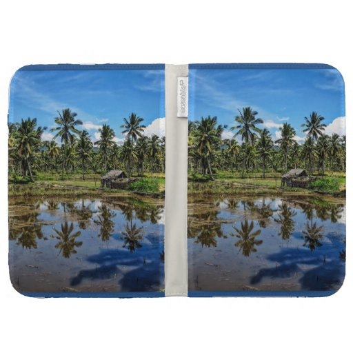 Rice Field Landscape Reflection Kindle 3 Cover Zazzle