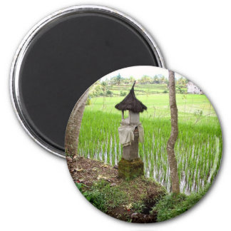 Rice Paddy, Temple, Ubud Bali, Indonesia 2 Inch Round Magnet