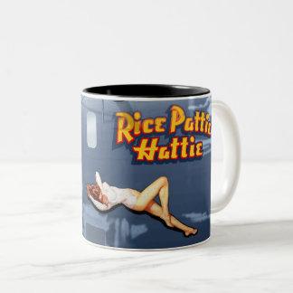 Rice Pattie B-24 Nose Art (Vintage Fuselage) Two-Tone Coffee Mug