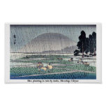 Rice planting in rain by Ando, Hiroshige Ukiyoe Posters