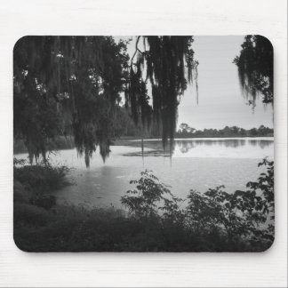 Rice Pond Landscape - Black & White Mouse Pad
