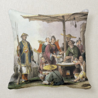 Rice Sellers at the Military Station of Tong-Chang Throw Pillow