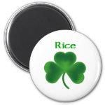 Rice Shamrock 2 Inch Round Magnet