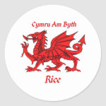 Rice Welsh Dragon Classic Round Sticker