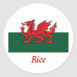Rice Welsh Flag Classic Round Sticker