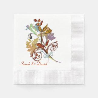 Rich Autumn Colors Floral Bouquet Paper Napkin