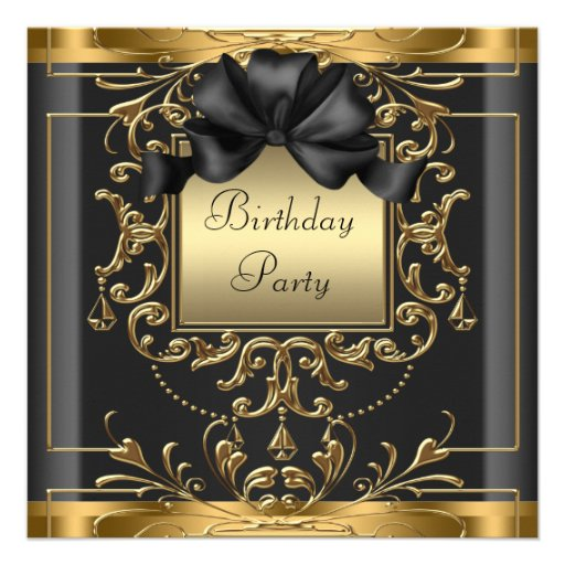 Rich Black and Gold Birthday Party Invitations