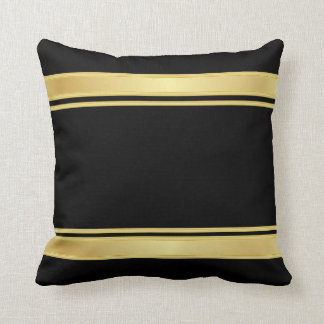 Rich Black and Gold Stripes Throw Pillow