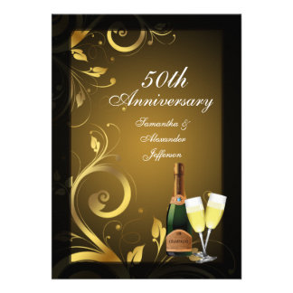 Rich Black and Gold Swirl 50th Anniversary Party Custom Invitation