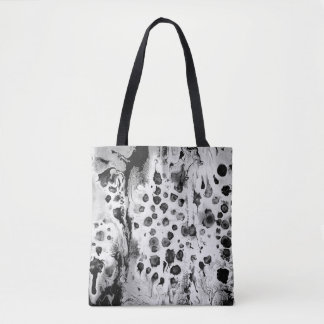 Rich Black and white water texture design, Tote Bag