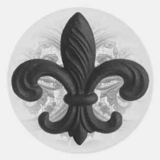 """RICH BLACK """"iron fleur de lis"""" invitation seals"""