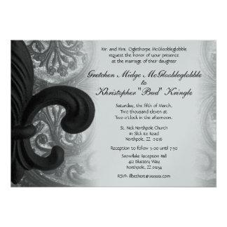"RICH BLACK ""iron fleur de lis"" Wedding Invitation"