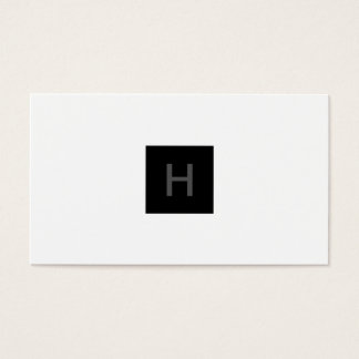 Rich Black Monogram Square Business Card