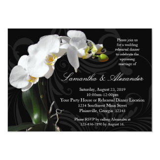 Rich Black w/ Orchid Rehearsal Dinner Invitations