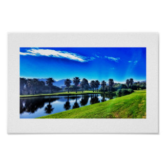 Rich Blue Green Landscape Palms Lake Golf Poster